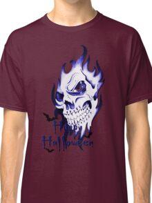Happy Halloween, skeleton, skull, demonic eyes, face, bats 3 Classic T-Shirt