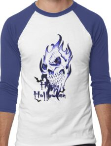 Happy Halloween, skeleton, skull, demonic eyes, face, bats 3 Men's Baseball ¾ T-Shirt