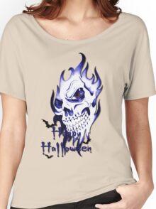 Happy Halloween, skeleton, skull, demonic eyes, face, bats 3 Women's Relaxed Fit T-Shirt
