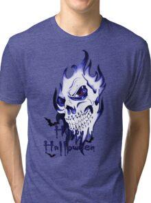 Happy Halloween, skeleton, skull, demonic eyes, face, bats 3 Tri-blend T-Shirt