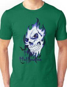Happy Halloween, skeleton, skull, demonic eyes, face, bats 3 Unisex T-Shirt