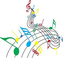 Colorful Music Notes on a Swirl Design by missdarrian