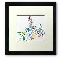 Colorful Music Notes on a Swirl Design Framed Print