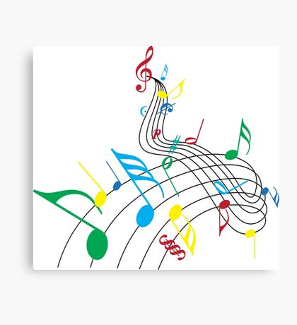 Colorful Music Notes on a Swirl Design Canvas Print