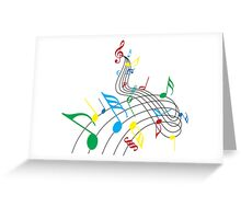Colorful Music Notes on a Swirl Design Greeting Card