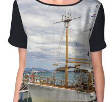 Ships and yachts on Adriatic sea, Croatia, summer time Chiffon Top