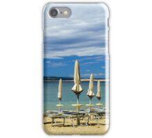 Empty sea beach with closed sun-umbrellas, Croatia, stormy weather, summer iPhone Case/Skin