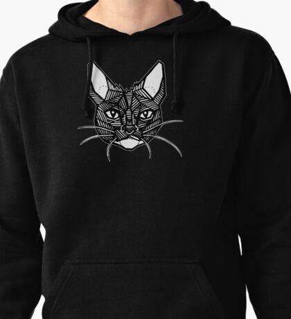 Geometric Cat Tattoo Pullover Hoodie