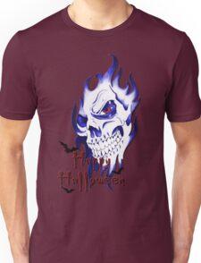 Happy Halloween, skeleton, skull, demonic eyes, face, bats 4 Unisex T-Shirt