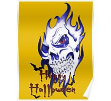 Happy Halloween, skeleton, skull, demonic eyes, face, bats 4 Poster