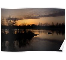 Sundown with Bare Branches Poster
