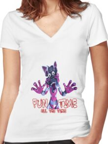 Fun Time All The Time Women's Fitted V-Neck T-Shirt
