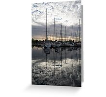 Silvery Boat Reflections - the Marina and the Pearly Clouds Greeting Card