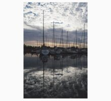 Silvery Boat Reflections - the Marina and the Pearly Clouds Kids Clothes
