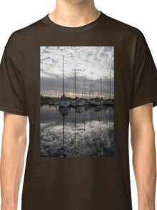 Silvery Boat Reflections - the Marina and the Pearly Clouds Classic T-Shirt
