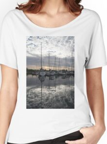 Silvery Boat Reflections - the Marina and the Pearly Clouds Women's Relaxed Fit T-Shirt