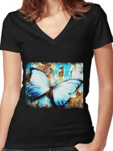 beautiful butterfly Women's Fitted V-Neck T-Shirt