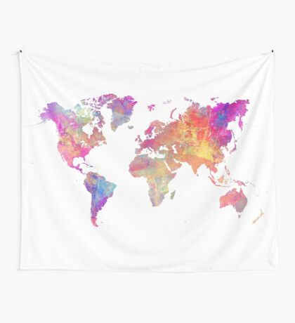 World Map Violet Wall Tapestry