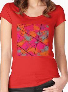 random 80s pattern Women's Fitted Scoop T-Shirt