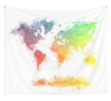 World Map splash 4 Wall Tapestry