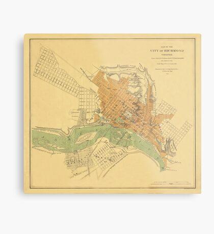 Map of Richmond 1864 Metal Print