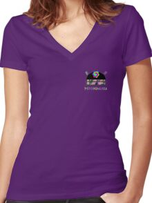 PsycheDaleka Head [Small]- Psychedelic Dalek! Women's Fitted V-Neck T-Shirt
