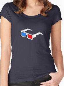 3D Glasses T Shirt  Women's Fitted Scoop T-Shirt