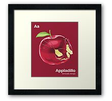 Aa - Appladillo // Half Armadillo, Half Apple Framed Print