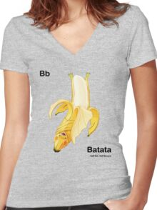 Bb - Batata // Half Bat, Half Banana Women's Fitted V-Neck T-Shirt