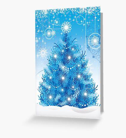 Blue Christmas Tree Greeting Card