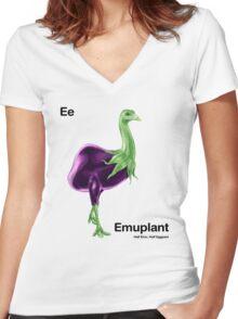 Ee - Emuplant // Half Emu, Half Eggplant Women's Fitted V-Neck T-Shirt