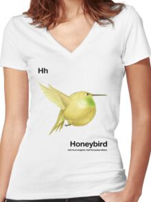 Hh - Honeybird // Half Hummingbird, Half Honeydew Melon Women's Fitted V-Neck T-Shirt