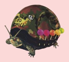 """""""Born to Chill"""" Full Metal Snail Turtle Kids Clothes"""