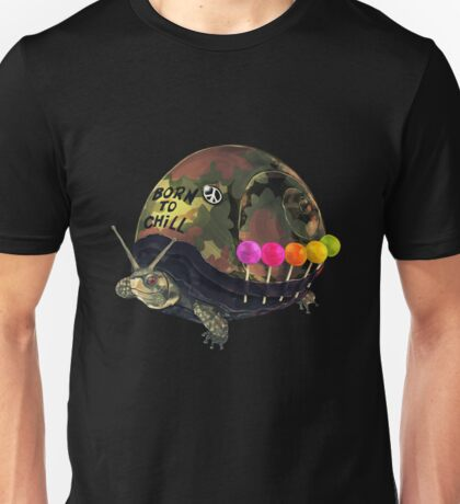 """Born to Chill"" Full Metal Snail Turtle Unisex T-Shirt"