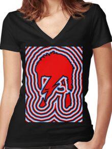 DAVID BOWIE - LIGHTNING BOLT Women's Fitted V-Neck T-Shirt