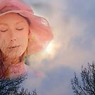 Pink Lady in  Snowy Sky by Gilberte