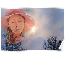Pink Lady in  Snowy Sky Poster