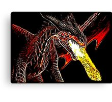 Big Red Angry Fire Breathing Fractal Dragon Design Canvas Print