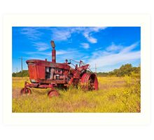 Old Tractor in its Golden Years - Autumn Landscape Art Print