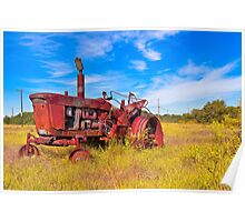 Old Tractor in its Golden Years - Autumn Landscape Poster