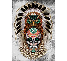 indian native Owl sugar Skull Photographic Print