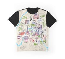 Paris illustrated Map Graphic T-Shirt