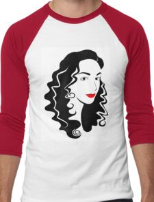 Black and white fashion girl portrait illustration. Men's Baseball ¾ T-Shirt