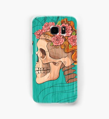 illustration with skull holding a human face mask Samsung Galaxy Case/Skin