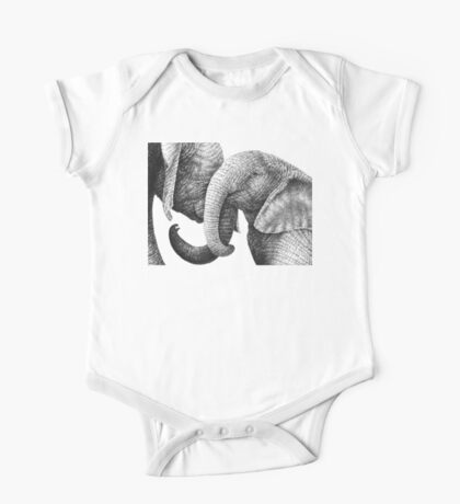 Young African Elephants One Piece - Short Sleeve