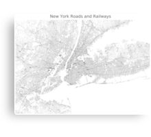 New York Roads and Railways Map Canvas Print