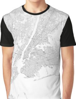 New York Roads and Railways Map Graphic T-Shirt