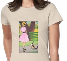 Cat Meets Woman In The Park Womens Fitted T-Shirt