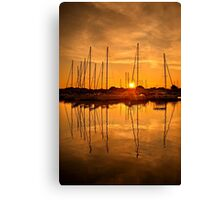 Sunset at the marina of Lefkada Canvas Print