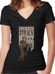 Get out of here stalker Women's Fitted V-Neck T-Shirt